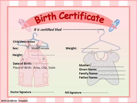 free printable birth certificate templates birth certificate template word excel pdf