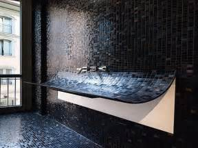 black bathroom tile ideas bathroom remodeling black mozaic glass tile for