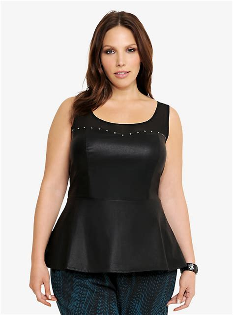 faux leather plus size tops faux leather studded peplum top torrid