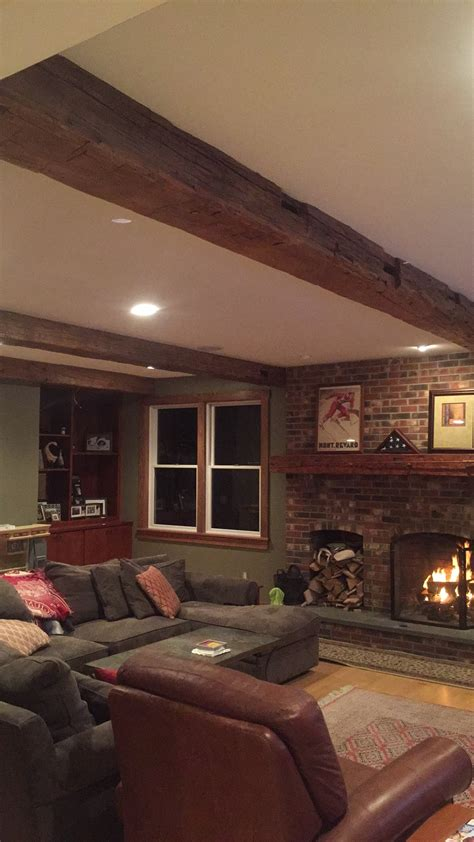 barn beam living room burns  associates custom
