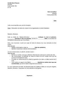 Modele Lettre Resiliation Suite Deces Modele Lettre Resiliation Bail Suite Deces Document