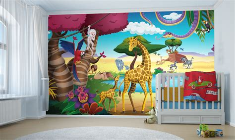 chambre enfant jungle d 233 co murale pour chambre de b 233 b 233 th 232 me la jungle clik 233 toile
