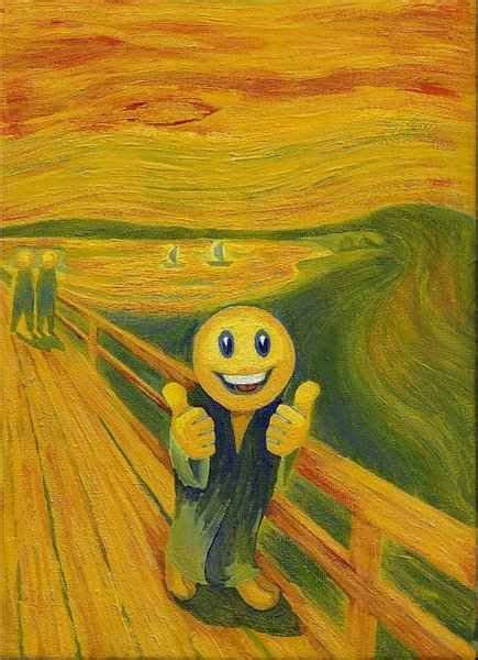 E Painting Meaning by The Scream W Smiley Peace Happiness