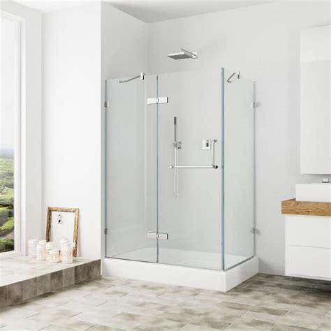 Lowes Shower Doors Shop Vigo Monteray 32 In To 40 In Frameless Hinged Shower Door At Lowes