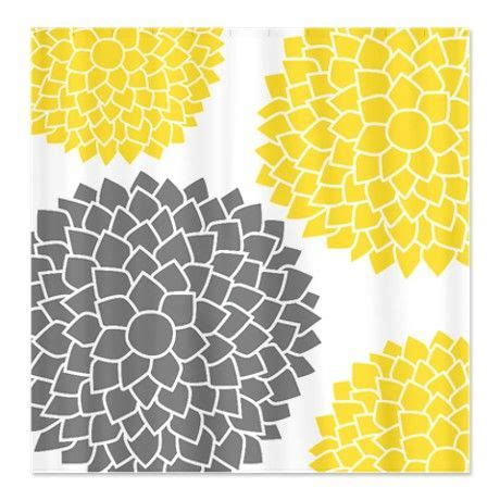 yellow gray pattern mod floral pattern shower curtain floral patterns