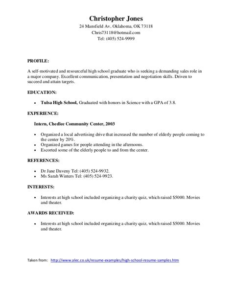 sle high school student resume template sles of resumes