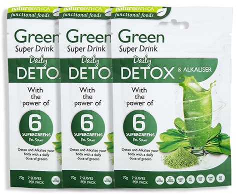 Green Juice Detox Australia by 3 X Naturopathica Green Detox Alkaliser Drink 70g