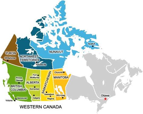 map of canada west working and living in west canada