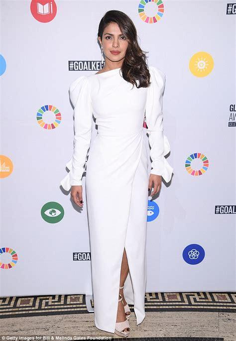 priyanka chopra charity event priyanka chopra turns heads in white gown un charity event
