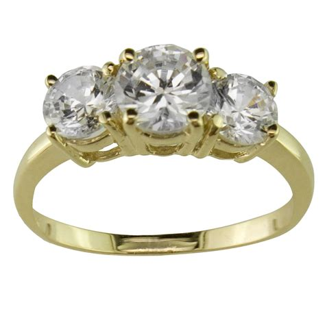3 cubic zirconia ring in 10k yellow gold jewelry