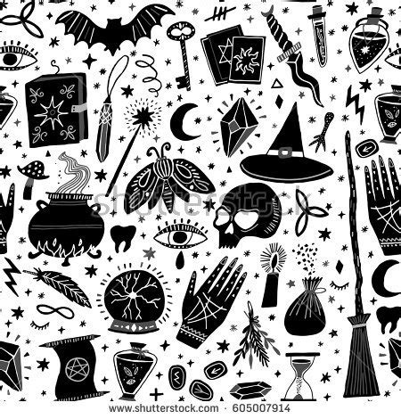magic pattern background vector magic witch seamless pattern witchcraft stock