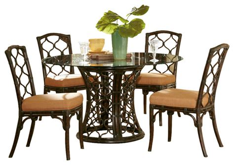 Glass Dining Room Furniture Sets Hammary Boracay 5 Glass Dining Room Set In