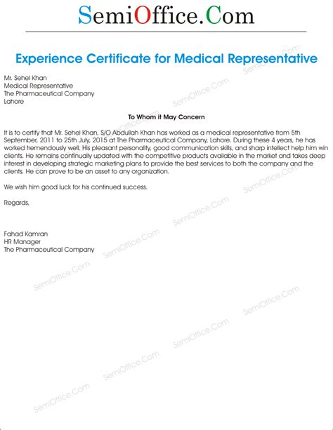 Experience Certificate Format Letter Marketing Executive Experience Letter For Representative Semioffice