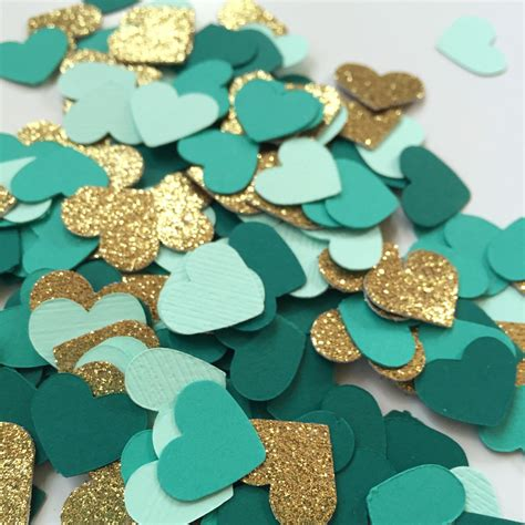 ruby wedding inspiration mint green teal and gold wedding confetti hearts gold glitter dark teal turquoise mint
