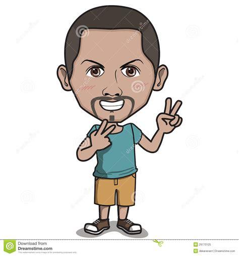 tekne en boy oranı het gelukkige karakter van de mens twee vinger het teken