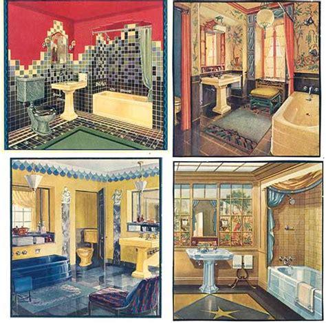 1920s bathroom fixtures set of 4 vintage 1920 s deco bathrooms illustrations