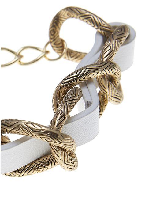 house of harlow engraved link bracelet white gold