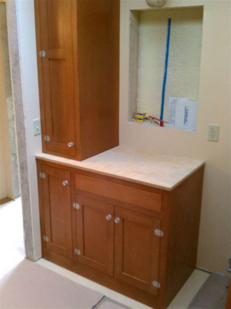 custom made douglas fir bath cabinets by artisan woodcraft