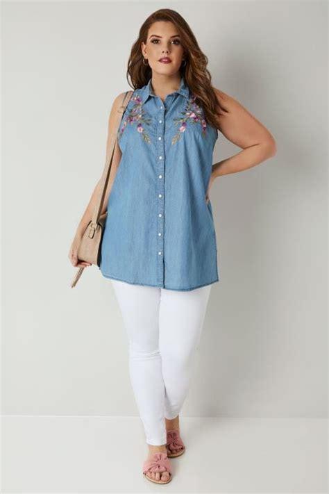 Embroidery Denim Shirt blue floral embroidery sleeveless denim shirt plus size
