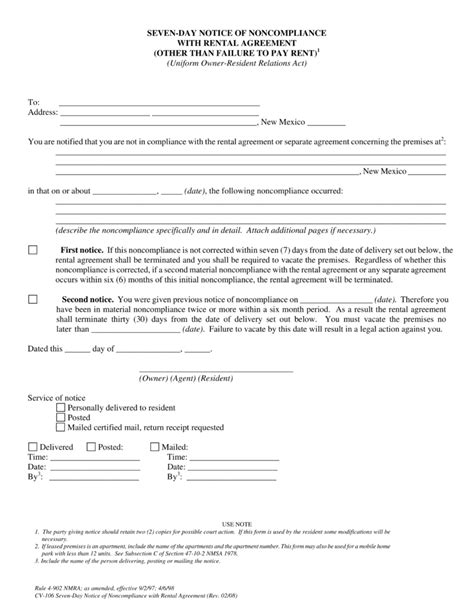 sle eviction notice new mexico new mexico 7 day notice to quit form non compliance