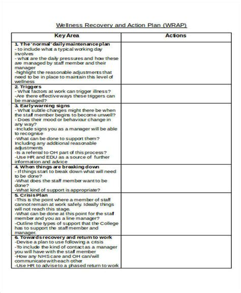 wellness and recovery plan template 7 recovery plan sles templates in pdf