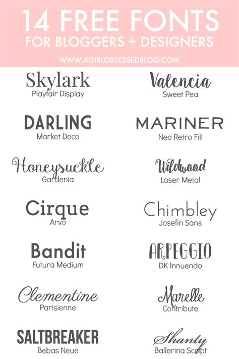 14 free fonts for bloggers designers a obsessed