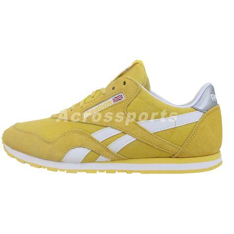 slim running shoes reebok cl slim pop classic yellow white womens retro