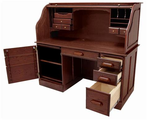 60 quot w solid oak rolltop computer desk in cherry finish in