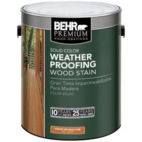 behr premium 1 gal cedar naturaltone solid color weatherproofing wood stain 5053301 the home