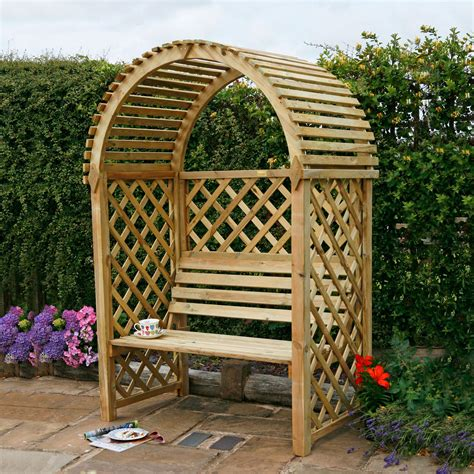 garden benches at b q blooma softwood round top arbour departments diy at b q