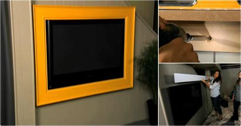 create  rustic wood frame   flat screen tv