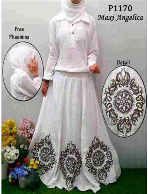 Cherish Oki Muslim Set kode maxi putih bordir maxi white p1170 gamis