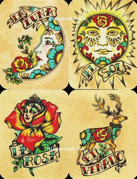 folk art tattoo loteria deck inspiration folk postcards mexican