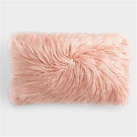 Faux Fur Pillow by Oversized Blush Mongolian Faux Fur Lumbar Pillow World