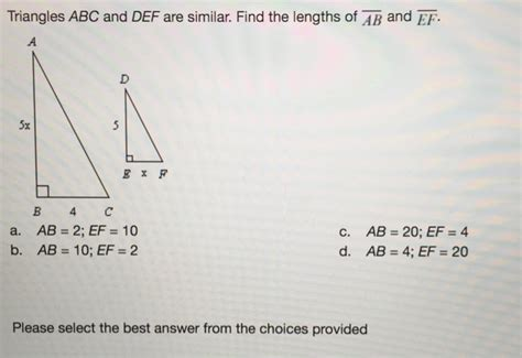 Find Alberta Solved Triangles Abc And Def Are Similar Find The Length Chegg