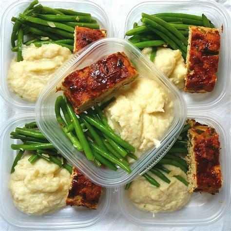 food prep meals meal prep turkey meatloaf creamed cauliflower garlic