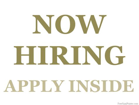 Free Is Hiring by Printable Now Hiring Sign