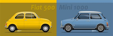 fiat 500 vs mini 1000 by mojearpe on deviantart