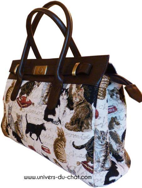 sac en tapisserie sac 224 chat tapisserie et cuir de fabrication