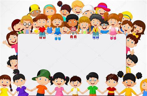 imagenes vectores sin derechos los ni 241 os multitud de dibujos animados con signo en blanco
