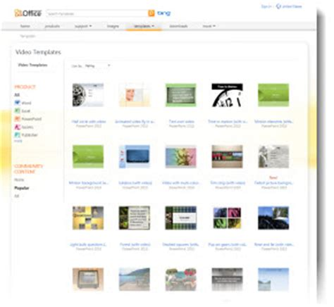 microsoft s office com has free powerpoint video templates
