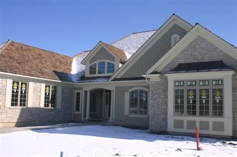 Exterior Stone Siding And Hardie Board Traditional Exterior Chicago By North