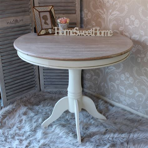 large round cream wood dining table shabby french chic