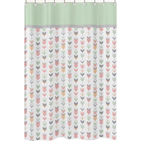 large shower curtains sweet jojo coral gray white woodland arrow bathroom fabric