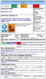 coshh assessment template