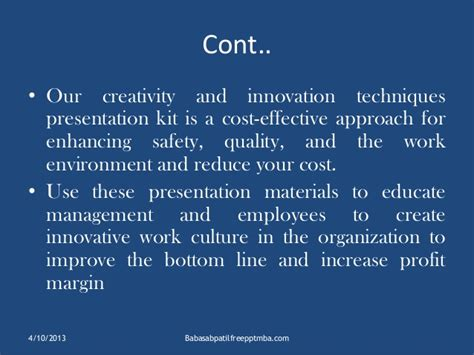 Cost Effective Mba by Techniques For Creativity Ppt Mba Hr Ppt