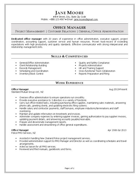 resume objective exle for office manager office manager resume