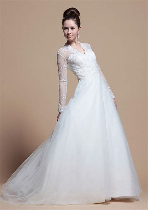 Longsleeve White Brush 2015 princess a line v neck sleeves white organza ruffles sweep brush wedding