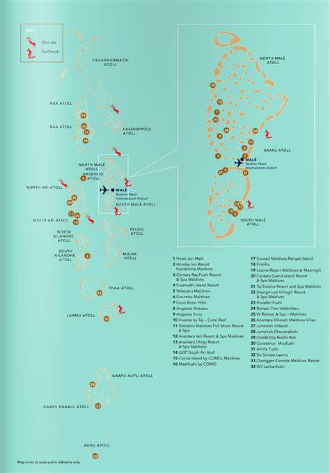 large detailed diving map  maldives maldives asia