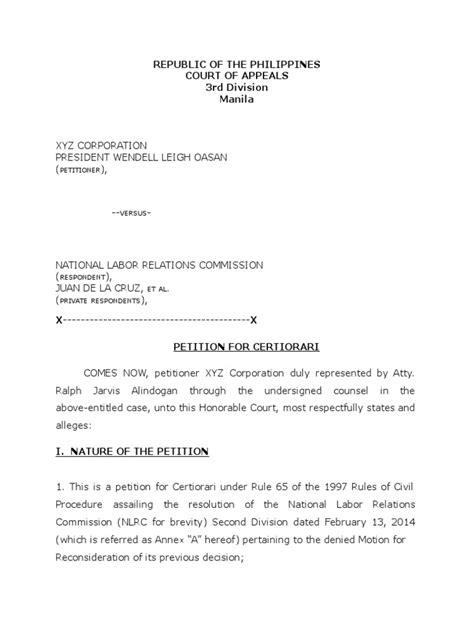 Sle Petition Certiorari Rule 65 petition for certiorari rule 65 sle living wage